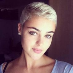 Stefania Ferrario - elegant with super short hair - Hairstyles For Women Pixie Hairstyles, Pixie Haircut, Cool Hairstyles, Very Short Hair, Short Hair Cuts, Very Short Pixie Cuts, Super Short Pixie, Love Hair, Great Hair