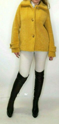 Tahari Women's Yellow Mustard Faux Fur Cozy Winter Teddy Coat Jacket Size S