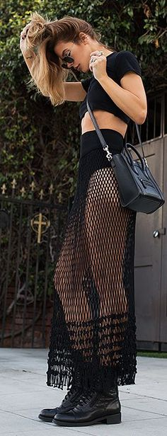 Sexy Black Net Maxi Skirt and Crop top by Native Fox