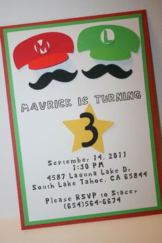 Mario and Luigi Birthday Invitation. $2.00, via Etsy.