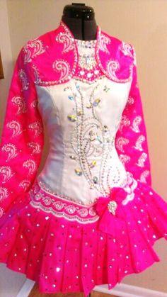 """Barbie Girl""  custom designed Irish Dance dress embelished with hundreds of Swarovski crystals."