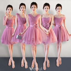 Vestidos De Damas De Honor · Affordable Candy Pink Bridesmaid Dresses 2018  A-Line   Princess Bow Sash Short Ruffle Backless 4ffb4119c88d