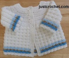 Free baby crochet pattern for coat http://www.justcrochet.com/textured-coat-usa.html #justcrochet #freecrochetpatterns