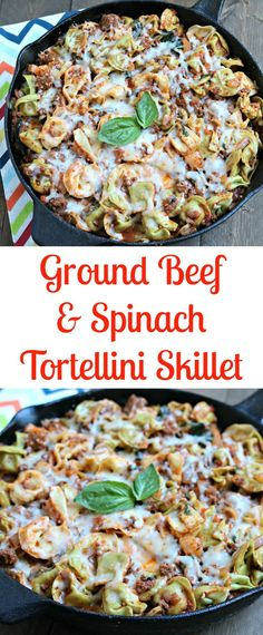 Ground Beef Spinach Tortellini Skillet #ad