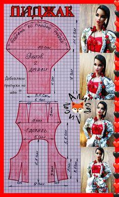 Sewing Barbie Clothes, Barbie Dolls Diy, Barbie Clothes Patterns, Doll Dress Patterns, Crochet Doll Clothes, Barbie Dress, Clothing Patterns, Diy Clothes, Barbie Knitting Patterns