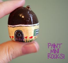 Mini rock painted house.  Picture found at: craftylittlepigtails.blogspot.com/