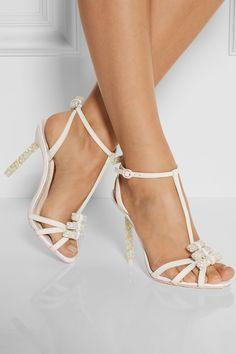 Sophia Webster   Fleur embellished leather and glitter-finished twill sandals   NET-A-PORTER.COM