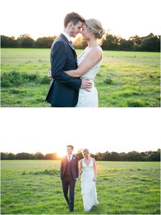 bride and groom at Copdock Hall Barn wedding face to face with golden sunshine behind them and walking towards the camera. Copdock Hall barn suffolk, Rebecca Prigmore Photography