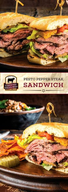Make Pesto Pepper Steak Sandwich for a show-stopping meal! Layers of roast beef, grilled eggplant, peppers, pesto, and a special spread on ciabatta bread. Sandwich Bar, Roast Beef Sandwich, Sandwich Recipes, Steak Sandwiches, Paninis, Best Beef Recipes, Cooking Recipes, Hamburger Recipes, Beef Appetizers