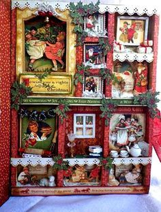 Divided trays as cutaways of tiny houses! Amongst trinkets fairies and swirls: Graphic 45 Christmas project/ Christmas Emporium Configurations Box by Angelica Christmas Shadow Boxes, Christmas Paper, Christmas Projects, All Things Christmas, Christmas Themes, Holiday Crafts, Vintage Christmas, Christmas Decorations, Xmas