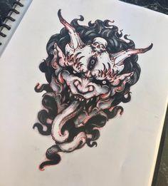 Akos Tattoo — akostattoo: This design is up for grabs ! Tattoo Sketches, Tattoo Drawings, Body Art Tattoos, Sleeve Tattoos, Cool Tattoos, Oni Mask Tattoo, Hannya Tattoo, Dark Tattoo, Tattoo On
