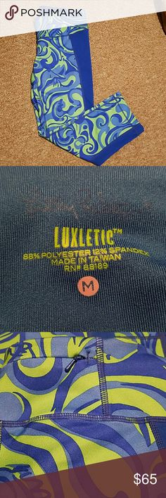 """Lilly Pulitzer """"luxletic"""" crop leggings Green and blue print. The Lilly Pulitzer insignia is written above luxletic in the second picture (hard to see) Worn once! Lilly Pulitzer Pants Leggings"""