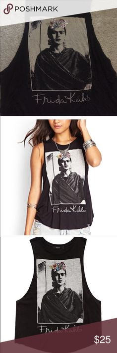 Frida Kahlo Summer Tee From the F21 collection. Size XS/S. This is a flowly top. Great detail. Worn once. Sides are open. Forever 21 Tops