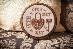 Key holder Home decor wall mount lock Key rack by TimeForStitch