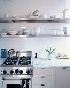 Kitchens Stainless Steel Floating Shelves Shelf Gas Range White Carrara Marble Countertops Subway Tiles Modern Kitchen Cabinets And Other