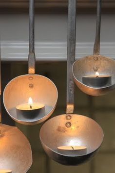 Ladle candle holders -- a cute DIY decor idea #indigo #MagicalHoliday - How cute and simple!  I need to stock up on some tea lights, my stash is running low.