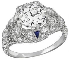 Antique 1.50ct Diamond Engagement Ring beautiful with the sapphires