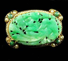 Antique Edwardian Carved Green Jade 14k Gold by Mosaicsandjewelry, $1395.00