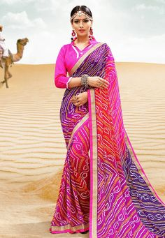 34eddcf9f99fbd Buy Pink Georgette Bandhej Saree With Blouse 154745 with blouse online at  lowest price from vast