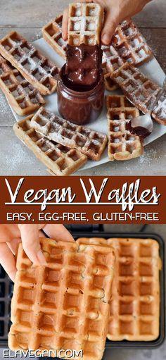 You need just 11 ingredients Gluten Free Breakfasts, Vegan Breakfast Recipes, Delicious Vegan Recipes, Gluten Free Recipes, Dessert Recipes, Vegan Gluten Free Breakfast, Yummy Snacks, Healthy Waffles, Gluten Free Waffles