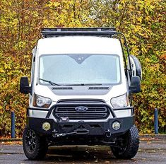 Ford Transit with Aluminess front winch bumper, roof rack, ladder and surf pole Ford Transit Conversion, Camper Van Conversion Diy, Van Camping, Camping Stuff, Ford Transit Campervan, Winch Bumpers, Step Van, Transit Custom, 4x4 Van