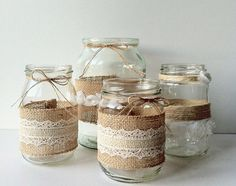 Diy wedding jars, jam jar wedding, hessian wedding, our wedding, rustic wedding Wedding Jars, Diy Wedding, Rustic Wedding, Lace Wedding, Hessian Wedding, Wedding Tables, Wedding Flowers, Wedding Dress, Deco Champetre
