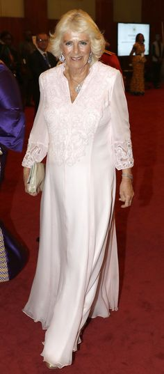 The Prince of Wales, The Duchess of Cornwall and President of Ghana Nana Akufo-Addo attend a State Banquet at Jubilee House in Accra, Ghana, Camilla Duchess Of Cornwall, Blush Gown, Prince Charles And Camilla, Camilla Parker Bowles, Royal Engagement, Tweed Coat, Royal Fashion, Coat Dress, Diana