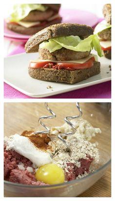 Besser geht's kaum: außen Vollkorn, innen bestes Beef: Selbstgemachte Cheeseburger Familienessen (2 Erw. und 2 Kinder) | http://eatsmarter.de/rezepte/selbstgemachte-cheeseburger