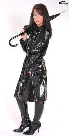 Raincoats For Women Posts ID: 7246155858 - leatherjacket Black Raincoat, Raincoat Jacket, Pvc Raincoat, Hooded Raincoat, Rain Jacket, Raincoats For Women, Jackets For Women, Imper Pvc, Parka