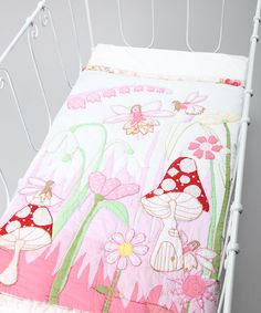 Fairies in the Garden Embroidered Patchwork Cot Quilt