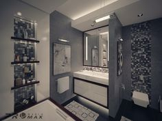 I like the recessed niches! Good idea for master bathroom.