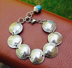 Buffalo Nickel Bracelet with Turquoise Color Bead Dangle on Etsy, $50.00