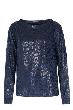 DRYKORN Seiden-Mix-Bluse mit Leopardenprint Navy bei myClassico - Premium Fashion Online Shop