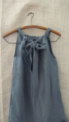 Linen Bow Ruffle Dress in Oyster Grey Gray from by bayousalvage, $90.00