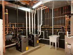 Mechanical room heating and cooling radiant heat Hvac Air Conditioning, Basement Systems, Mechanical Room, Underfloor Heating Systems, Heating And Plumbing, Radiant Heat, Home Upgrades, Home Repairs, Home Design Plans