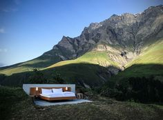 Fancy Sleeping Under The Stars In The Swiss Alps? Consider this open-air hotel room by the Null Stern Hotel in Safiental, Switzerland.
