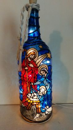 Nativity Wine Bottle Lamp Handpainted Lighted Stained Glass Look Recycled Glass Bottles, Glass Bottle Crafts, Wine Bottle Art, Painted Wine Bottles, Lighted Wine Bottles, Painted Wine Glasses, Cut Bottles, Bottle Lamps, Decorated Bottles