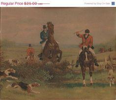 ON SALE Vintage Litho English Fox Hunting Scene by VictorianCobweb, $21.25