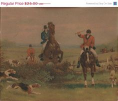 ON SALE Vintage Litho English Fox Hunting Scene by VictorianCobweb, $21.25