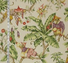 Monkey fabric tropical jungle from Brick House Fabric: Novelty Fabric