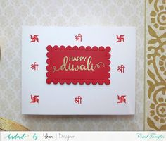 Video Tutorial, Craftangles, Diwali card, CAS card, stenciling, die cutting, Quillish, craftangles lakshmi stamp, craftangles shubh labh stamp, diwalicards, mass producing cards, mass producing diwali cards Easy Crafts, Crafts For Kids, Arts And Crafts, Paper Crafts, Diwali Cards, General Crafts, Stenciling, Die Cutting, Cas