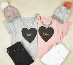 Delias twinning with best friends Shirts Bff, Best Friend T Shirts, Best Friend Outfits, Cute Shirts, Best Friend Clothes, Matching Outfits Best Friend, Twin Outfits, Teen Fashion Outfits, Teenager Outfits