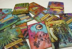 Gelli printing on playing cards,Altered playing cards by Mary Jane Chadbourne -Desert Dream Studios Kunstjournal Inspiration, Art Journal Inspiration, Art Journal Pages, Art Journals, Playing Cards Art, Gelli Plate Printing, Gelli Arts, Atc Cards, Plate Art