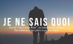 "JE NE SAIS QUOI Literally ""I don't know what"" - an indescribable attribute that makes a person, place or object unique.14 Perfect French Words And Phrases The English Language Should Steal"