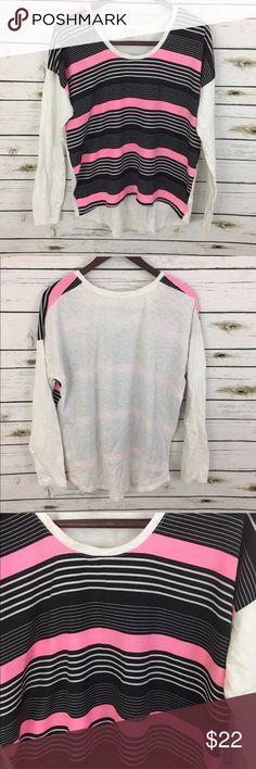 "GAP Long Sleeve Hi Low Blouse Size L 100% cotton GAP Womens Pink White Black Long Sleeve Hi Low Blouse Size Large 100% cotton  Length (front) 25"" Length (back) 27"" Bust 23""  inventory G8 GAP Tops Blouses"