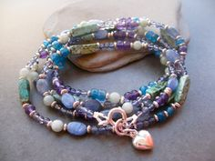 Blue Long necklace Gemstone long Necklace by Sylviajewelry on Etsy