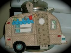 Glamping Camping Potholder Series Vintage Camper by BSoriginals