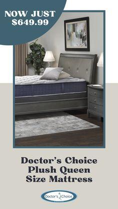 Shop the Doctor's Choice Plush queen mattress for just $649.99 through 6/10/21. #denvermattress #memorialdaysale #sleep #mattress King Size Pillows, Adjustable Base, Queen Mattress, Sleep Better, Queen Size, Denver, Plush, Bed, Furniture
