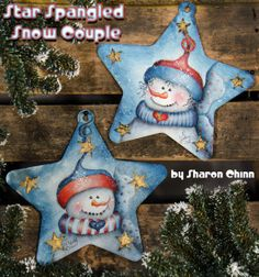 Star Spangled Snow Couple Video Tutorial and ePattern - Sharon Chinn Wood Ornaments, Snowman Ornaments, Diy Christmas Ornaments, Christmas Decorations, Pintura Country, Snowmen Pictures, Christmas Pictures, Snowman Faces, Christmas Drawing