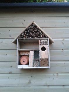 Zelf een insectenhotel maken. Benodigdheden, planken, houten blokken takken, aarde werken potje, dopjes van pistashnoten, ijzerdraad. Boor gaatjes in de houten blokken. Zet hotel naar eigen inzicht in elkaar.